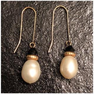 10KT Yellow Gold Freshwater Baroque Pearl Hook Earwire Dangle Earrings