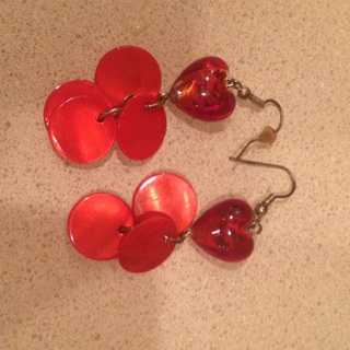 Orange/red heart earrings