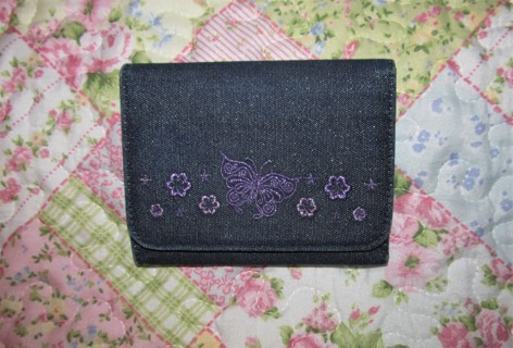 Cute Denim Wallet with Butterfly & Flowers Sparkles!