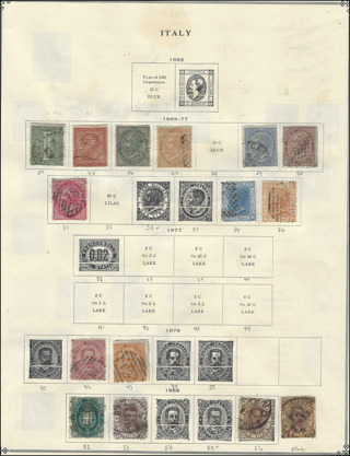 High CV 1863-1879 Italy stamps on Scott Album page, used/F-VF, est CV $96.38