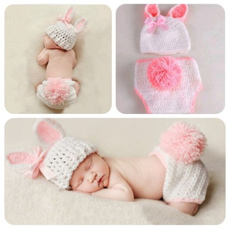 Baby boy and the girl's hand woven clothes bunny crochet dress photography props pink and blue