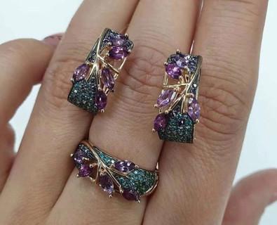 3pcs Fashion Zircon Leaf Shape Ring Exquisite Earrings Bohemian Women's Wedding Jewelry Set