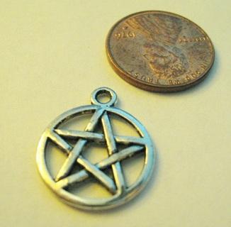 Silver Tone Pentagram Pentacle charm ~ Free ship