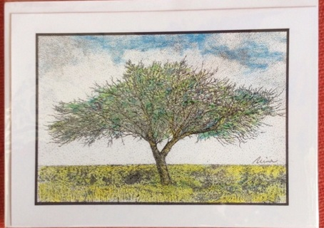 """TEXAS TREE - 5 x 7"""" art card by artist Nina Struthers - GIN ONLY"""