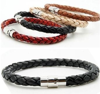 Unisex Women Men Braided Leather Steel Magnetic Clasp Bracelet Handmade