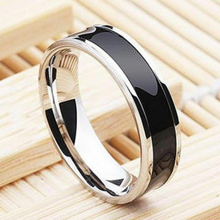 Fashion Jewelry Black Titanium Band Stainless Steel Ring For Women Size 6-12