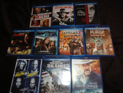 Big Lot of 10 Blu Ray Movies Films Thriller Suspense Drama Action Gunplay Western Wholesale