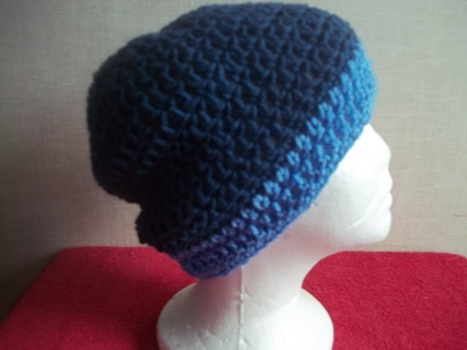 Crocheted Navy and Blue Slouch Hat