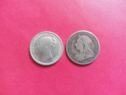 1874 & 1897 SILVER 3 PENCE GREAT BRITAIN FULL DATES!