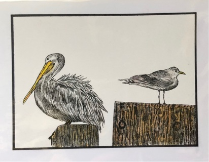 """PELICAN AND SEAGULL - 5 x 7"""" art card by artist Nina Struthers - GIN ONLY"""
