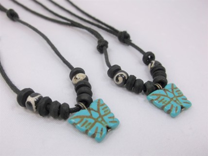 2 Howlite Stone Butterfly Necklaces w Wood Beading - Adjustable