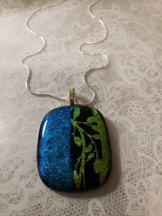 DICHROIC GLASS NECKLACE made by me fused glass