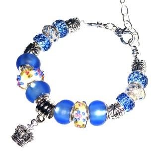 "(NEW!) ""Austrian Blue Crown"" Classic Euro Bracelet with Extender!"