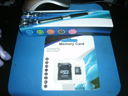 Spy Camera Ink Pen New In Box + 8 GB New memory card & adapter