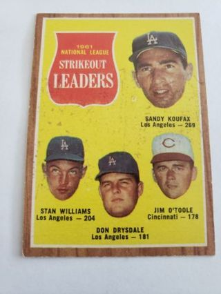 1962 topps Strikeout leaders Koufax Williams Drysdale O'toole vintage baseball card