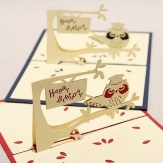 [GIN FOR FREE SHIPPING] 3D Pop Up Cards Owl Greeting Card Postcard Christmas Birthday