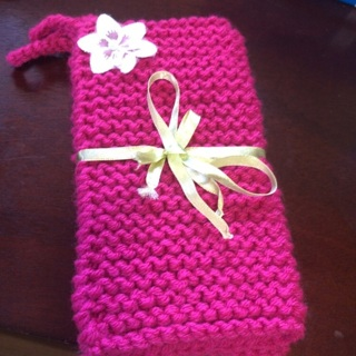 Two Hand Knitted Heavy Duty Potholders .