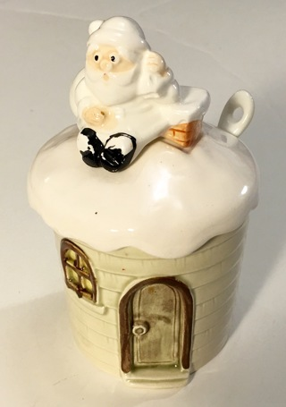 Otagiri 1979 Santa Claus Collectible Sugar Bowl / Jar with Lid and Spoon - Clean - Made in Japan
