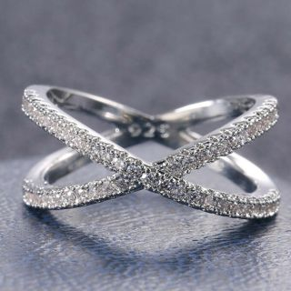 [GIN FOR FREE SHIPPING] Infinity 925 Silver Wedding Ring White Sapphire