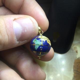 Italian 14k gold enamel earth charm