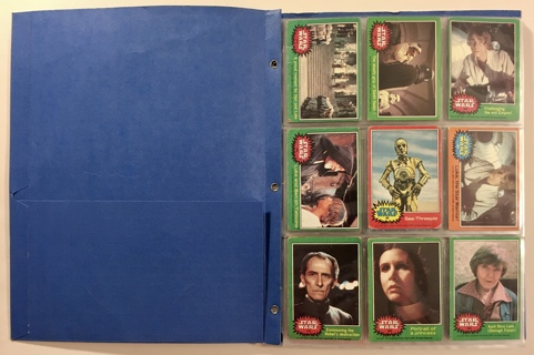 Vintage Star Wars Lot of 100 Topps Trading Cards from 1977, 1980, and 1983 in Binder Sleeves