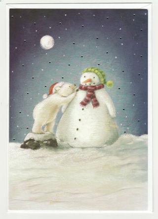 Christmas Card Unused With Envelope Snowmen Raised