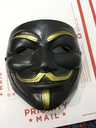 1 NEW BLACK ANONYMOUS MASK V FOR VENDETTA NOVELTY FACE MASK GUY FAWKE FREE SHIPPING