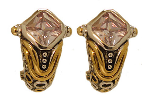 DESIGNER CABLE EARRINGS in TWO with CZ BOXED NEW