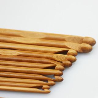 [GIN FOR FREE SHIPPING] 12PCs Carbonize Knitting Crochet Hooks Needles Bamboo Craft Set