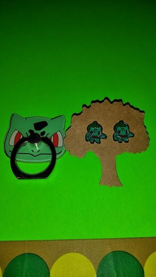 """❤♡❤♡❤BRAND NEW POKÉMON """"BULBASAUR"""" CELLPHONE STENT/STAND WITH MATCHING EARRINGS❤♡❤♡❤ONLY 1!"""