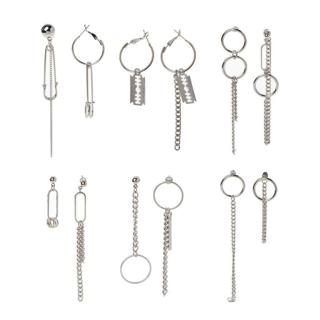 Korean Asymmetric Tassel Chain Safety Pin Dangle Drop Earring Kpop Jewelry