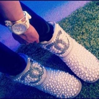 6fc0dd41c09 Free: Beautiful Rhinestone Chanel Pearl Boots~ So Stunning ~ DIY ...