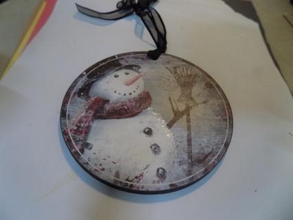Wood round nostalgic snowman ornament, flat,handpainted, black organdy hanger # 2