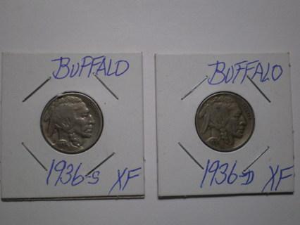 Set of 2 Buffalo Nickels 1936 D & S