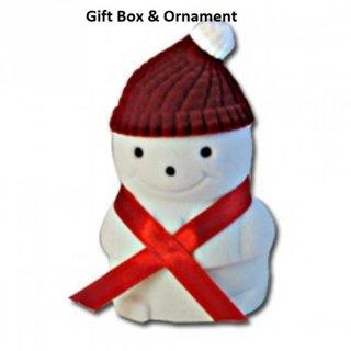 Gift box / ornament snowman velvet flocked NWT