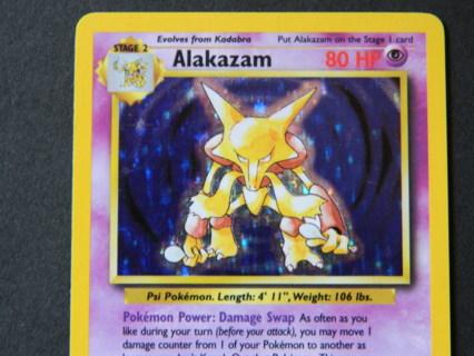 1999 Wizards 1/102 Alakazam HOLO RARE Pokemon Card - FREE Shipping!