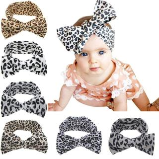 Baby Girls Fashion Leopard Headbands Turban Bandana Hair Band Kids Soft Stretch Big Bow Bowknot He