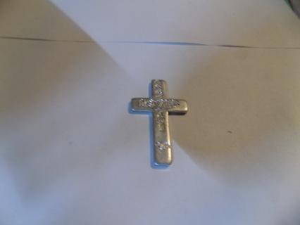 2 inch aluminum cross embellishment God Loves You engraved
