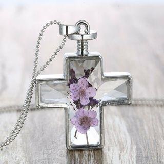 Handmade Dried Flower Sunflower Glass Cross Pendant Necklace