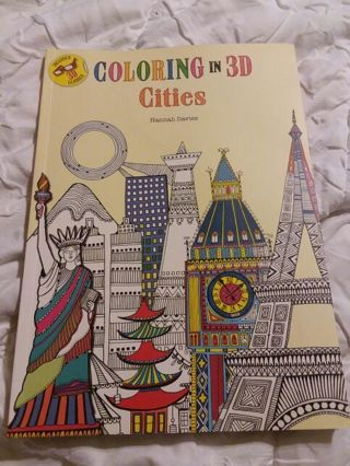 New Coloring in 3D Cities Adult coloring book includes 3D glasses!!