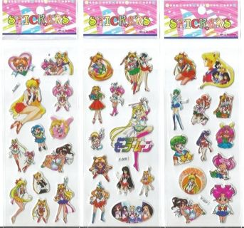 1 lot SAILOR MOON Anime Value Pack NEW JAPANESE PopUp BUBBLE Stickers Vibrant Detailed FREE SHIPPING