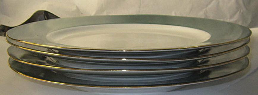 Dinner plates original box gold emerald green white dishes 4 pcs halo dish china