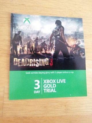 Free: 3 Day Xbox Live Gold Trial Xbox one Xbox 360 xb1
