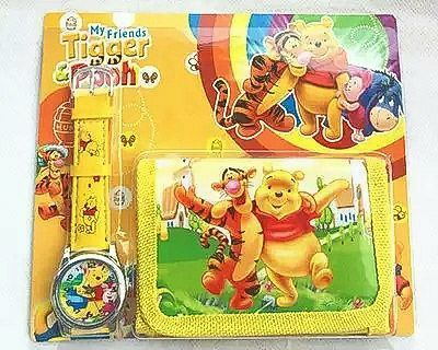 My Friends Tigger and Pooh Kids Adjustable Quartz Watch and Wallet Set for Children NEW