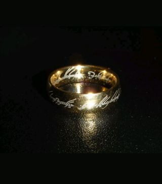 MEN'S SIZE 10 LORD OF THE RINGS GOLD PLATED SCRIPTURE BAND RING *free shipping