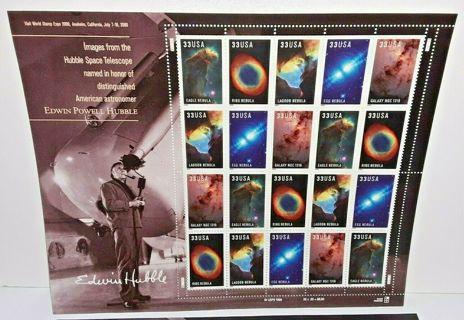 2000 33 cent Edwin Hubble full Sheet of 20, Scott #3384-3388, Mint NH