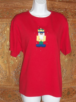 Quacker Factory Xmas Holiday  Bright Nutcracker Tee Sz 1X