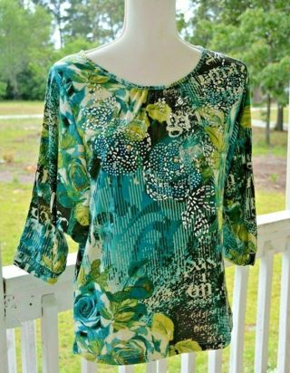 THOMAS & OLIVIA Womens Medium Blue Black Green Sequin Shirt Top Blouse New With Tags!