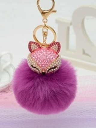 Fluffy Purple Fox Key Ring with Pink Rhinestones & Pearls