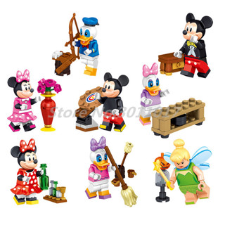 Stacking Blocks Cartoon Minnie- Mickey 8pcs/lot Donald Duck Daisy Tinker Bell Building Blocks